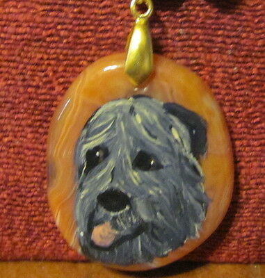 Irish Wolfhound hand painted on oval gemstone pendant/bead/necklace