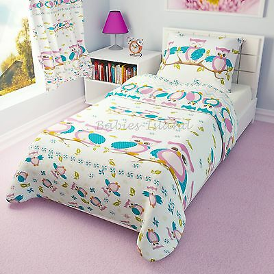 Children's Duvet cover and Pillowcase - Girls Bedding - Pink Owls
