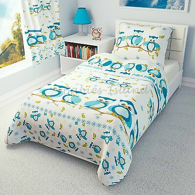 Children's Duvet cover and Pillowcase - Girls and Boys Bedding -  Blue Owls