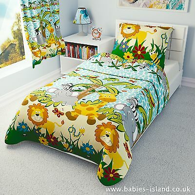 Children's Duvet cover and Pillowcase - Girls and Boys Bedding -  Blue Jungle