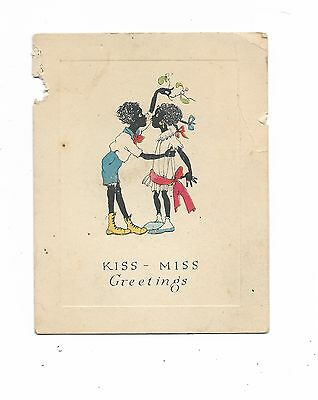 """""""Kiss -Miss Greetings""""  Christmas card from Rustcraft  kissing under misletoe"""