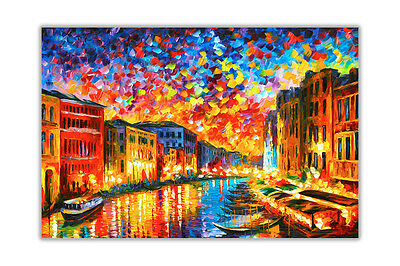 AT54378D Venice Grand Canal By Leonid Afremov Abstract Poster Prints Wall Art