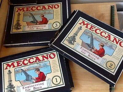 Meccano Engineering for Boys Boxes 1, 2 And 3 Vintage Collectable