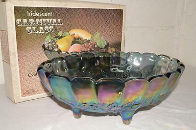 MINT IN BOX Vtg INDIANA 2211 Carnival Glass HARVEST Iridescent OVAL CENTER BOWL