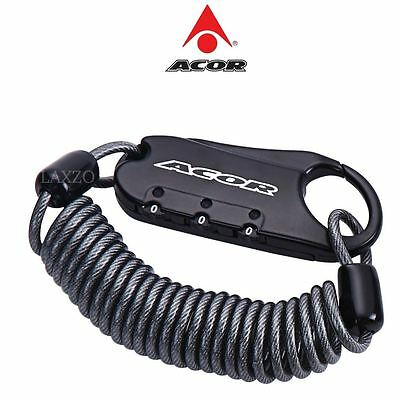 Acor 3 Digit Combination Durable Steel Cable Bike Luggage Mini Lock 3mm x 1500mm