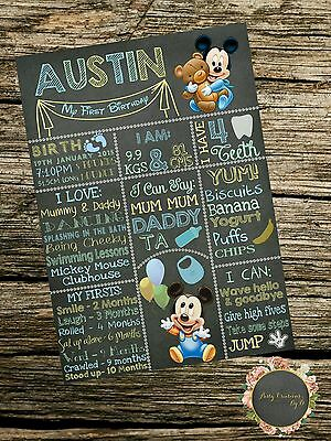 Personalised Chalkboard Mickey Mouse First Birthday Milestone Print Card A4 size