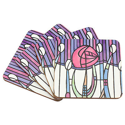 Set of 4 Modern Style Mackintosh Coasters Serving Square Table Mat Cork Backed