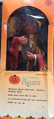 Vintage Pumpkin Time Battery Operated Dracula Sound & Moving Halloween Figure