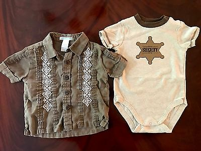 Janie And Jack Baby Boys Size 12-18 Months Shirt Set PERFECT! EUC Sheriff Brown