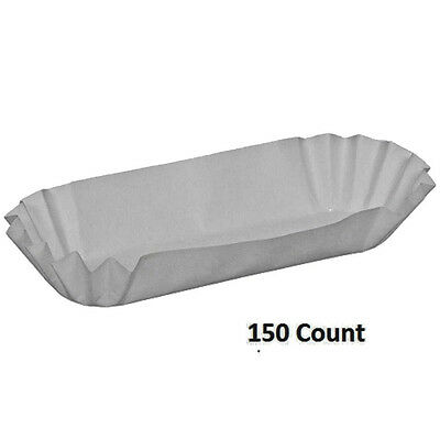 """Dixie Hot Dog White Paper Trays 150 Count 8"""" Concessions Summer Pool Party"""
