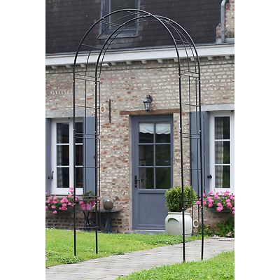 Iron Garden Rose Arch Metal Arbor Steel Outdoor Pergola Climbing Support Plants