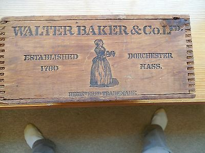 Primitive Walter Baker's Breakfast Cocoa Wood Box Finger Joint Advertising Mass
