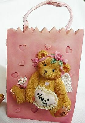 New 1995 Cherished Teddies Valentine Gift Bag Vase Forget Me Not For My Sweetie