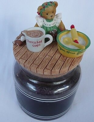 New Retired Cherished Teddies Teddy Bear Baking Cook Candle Jar Toppers 2000