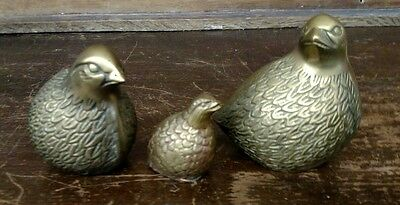 Vintage Set of 3 Solid Brass Quail Figurines Decoration