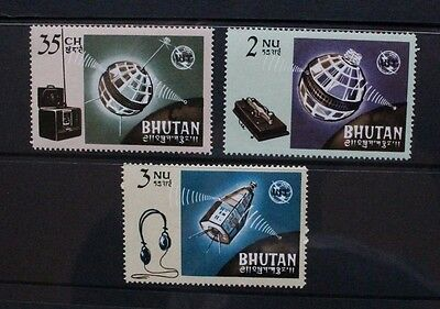 BHUTAN 1966 ITU Telecommunications Union. Set of 3. Mint Never Hinged. SG64/66.
