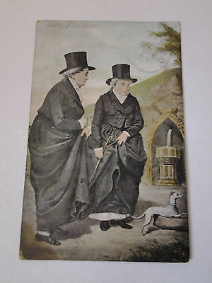 Ladies of Llangollen with dog - postcard 1905 Wales