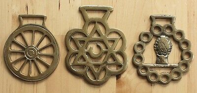 VTG Lot of 3 Brass Horse Bridle Harness Hanging Medallion Ornament Plaques