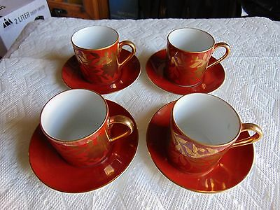 Vintage Fitz & Floyd Demitasse Set 0f 4 with 22K Gold Leaf Accents  MUST SEE!!!