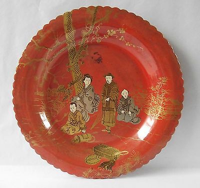 Antique Lacquer Papier Mache Plate Bowl Dish Orange Red Chinese Oriental