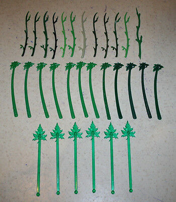 Lot of 30 Plastic Swizzle Sticks Drink Stirrers Branch Palm Tree Maple Leaf