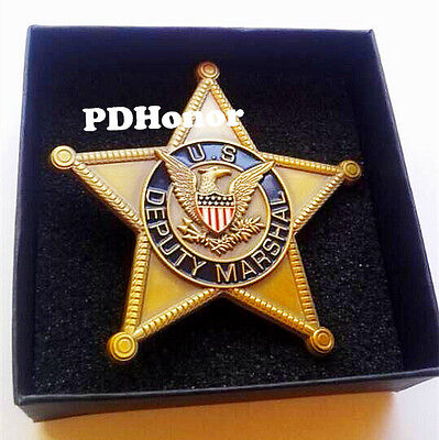 Obsolete vintage gold U.S Deputy Marshal badge with pin back - rare