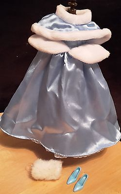 Disney Princess Cinderella Winter Blue Ball Doll Outfit Fashion Costume Dress