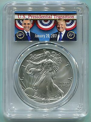 2017 American Silver Eagle 1 Oz. $1 Coin PCGS MS70 First Strike Obama Trump