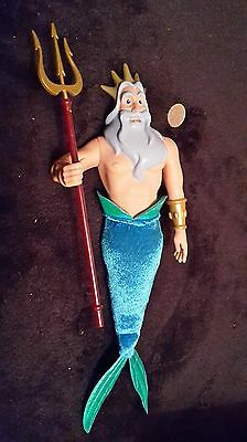 """Disney Store The Little Mermaid Ariel Father King Triton 11"""" Action Figure Doll"""