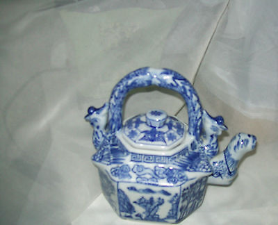 Vintage Chinese blue and white  teapot