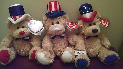 3 lot INDEPENDENCE red~white~blue Ty BEANIE BABIES BEARS Patriotic 4th of July