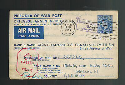 1944 England to Germany POW Prisoner of War Cover Marlag LTC JA Caldecott R Navy