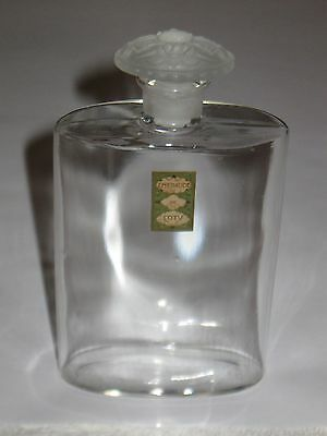 """Vintage Coty Lalique Style Glass Perfume Bottle & Stopper Emeraude 5 3/8"""" Height"""