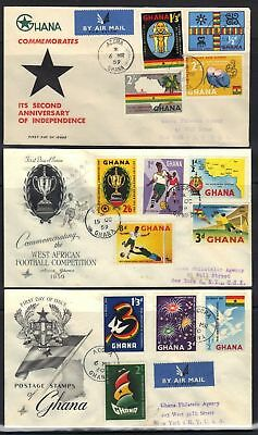 Ghana 1958-9 8 Fdcs First Day Covers Inc Independence &