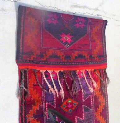 """Large American  Indian Rug / Wall Hanging Mostly Red 113"""" x 38"""" Fringe"""