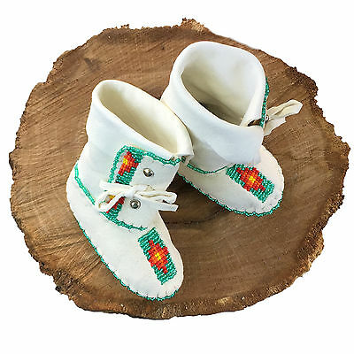 Native American Baby Moccasins Soft Sole Shoes Leather Boy Girl Turquoise