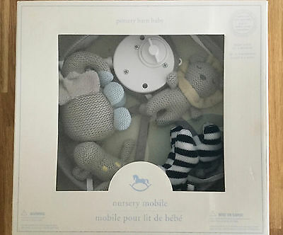Pottery Barn Nursery Baby Crib Mobile Knit Animals Gray Musical Soother