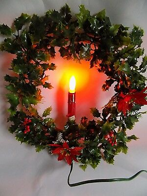 Vintage Christmas Decor Wall Decoration Plastic Wreath with Light Up Candle