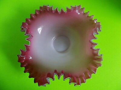 Vintage Large Fenton? Ruffled Pink and White Art Glass Bowl