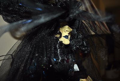 "NEW GORGEOUS WITCH doll Halloween VICTORIAN DRESS BOOK Potion Spells 25"" Feather"