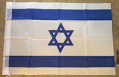 """Israeli Flag Blue & Wh. 24"""""""" X 35"""" Hangable PROUDLY DISPLAY YOUR SUPPORT FREE SH"""