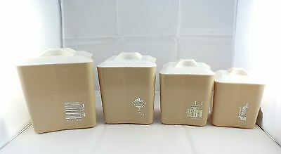 Vintage Retro Tan Beige Almond Canister Set Mid Century Atomic