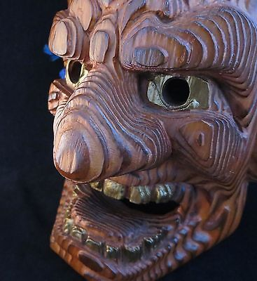 Japanese Traditional mask Kurohige Noh Dragon hannya Itto-bori Yakusugi Wood