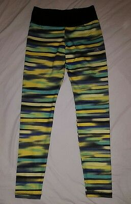Adidas Junior 13-14Y Climalite Leggings Yellow Blue Green Black Excellent Cond