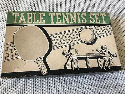 Vintage Table Tennis Set Box and Net by Metal Moss Mfg. Co. No. 1000