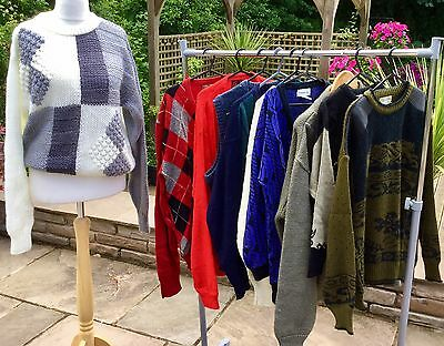 MENS UNISEX   VINTAGE 80S COSBY/CRAZY KNITS  GRUNGE GEEKY ETCx 10 JOB LOT