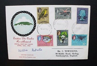TRISTAN DA CUNHA 1963 Resettlement of Island FDC. Signed FIRST DAY COVER.