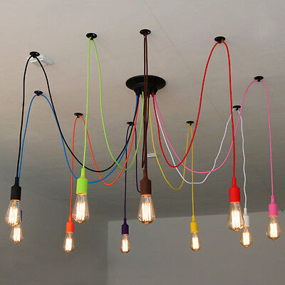 Vintage Colourful Industrial Pendant Light DIY Ceiling Lamp Spider Light Edison
