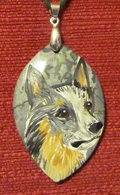 Australian Cattle Dog hand painted on a marquis cut Jasper pendant/bead/necklace