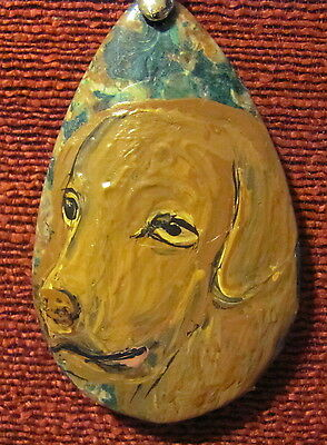 Chesapeake Bay Retriever hand painted on teardrop pendant/bead/necklace